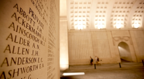 Soldiers' names at Menin Gate Memorial
