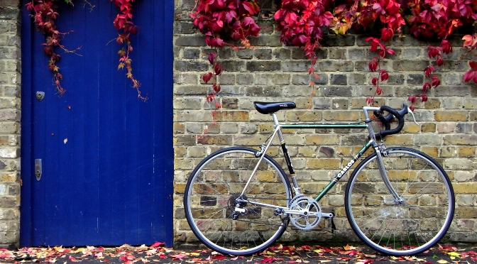 Old road bicycle in the autumn
