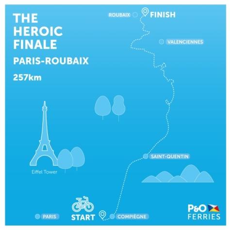 Paris-Roubaix 2017 route map