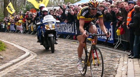 Cyclist riding the Paris-Roubaix