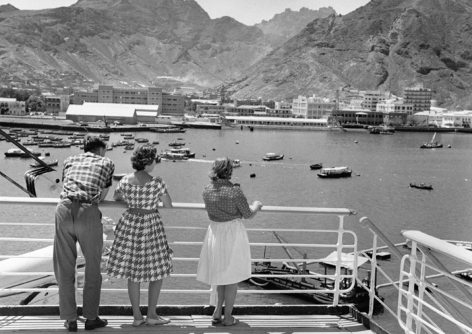 People looking to sea on a P&O ship