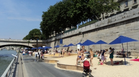Paris Plages in summertime on the River Seine