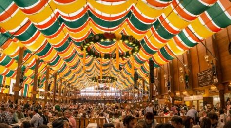 Oktoberfest in Munich beer hall