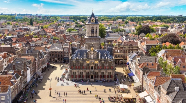 Panoramic aerial view of Delft