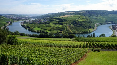 View of Moselle valley on the border Luxembourg and Germany